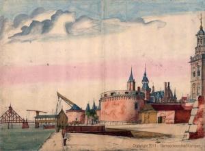 Gezicht op de Leeuwentoren en omgeving, Kampen, A. Beerstraaten, Zeventiende eeuw, in: Gemeentearchief Kampen